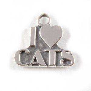 Charm School UK > Sterling Silver Charms > Animals > I Love Cats